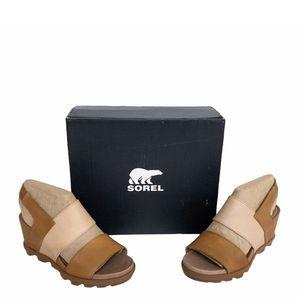 SOREL Brown Slingback Leather Wedge Sandals 9